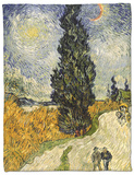 Road with Cypresses, c.1890 Fleece Blanket by Vincent van Gogh