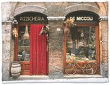 Bicycle Parked Outside Historic Food Store, Siena, Tuscany, Italy Fleece Blanket by John Elk III