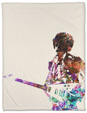 Hendrix With Guitar Watercolor Fleece Blanket by  NaxArt