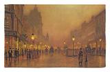 Una calle de noche Alfombrilla por John Atkinson Grimshaw