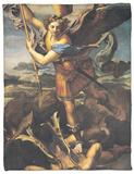 St. Michael Overwhelming the Demon, 1518 Fleece Blanket by  Raphael