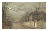Old English House, Moonlight After Rain, 1883 Alfombrilla por John Atkinson Grimshaw