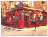 The Temple Bar Pub in Temple Bar Area Fleece Blanket by Eoin Clarke