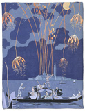 "Fireworks in Venice, Illustration for ""Fetes Galantes"" by Paul Verlaine 1924 Fleece Blanket by Georges Barbier"