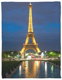 Eiffel Tower and Reflection at Twilight, Paris, France, Europe Fleece Blanket by Richard Nebesky