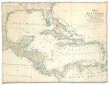 The Caribbean with the West Indies and the Coasts of the United States and the Spanish Possessions Fleece Blanket by John Blair