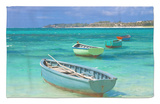 Small Fishing Boats in the Turquoise Sea, Mauritius, Indian Ocean, Africa Alfombrilla