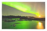 Aurora Borealis and Moon over Icebergs, Jokulsarlon and Breidamerkurjokull, Iceland Rug by Tom Norring