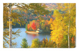 Summer Home Surrounded by Fall Colors, Wyman Lake, Maine, USA Rug by Steve Terrill
