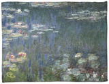 Waterlilies: Green Reflections, 1914-18 (Left Section) Fleece Blanket by Claude Monet
