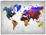 World Watercolor Map 12 Fleece Blanket by  NaxArt