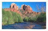 Cathedral Rock Above Oak Creek at Red River Crossing, Sedona, Arizona Alfombrilla por David Tomlinson