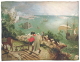 Landscape with the Fall of Icarus, circa 1555 Fleece Blanket by Pieter Bruegel the Elder
