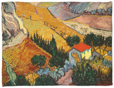 Landscape with House and Ploughman, 1889 Fleece Blanket by Vincent van Gogh