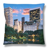 Central Park South at Night Throw Pillow by Jean-pierre Lescourret