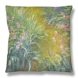 Iris Throw Pillow by Claude Monet