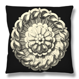 Black and Tan Rosette IV Throw Pillow by  Vision Studio