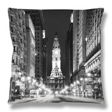 City Hall and Avenue of the Arts by Night, Philadelphia, Pennsylvania, US Throw Pillow by Philippe Hugonnard
