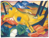 Yellow Cow, 1911 Fleece Blanket by Franz Marc