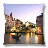 Rialto Bridge, Grand Canal, Venice, Italy Throw Pillow by Alan Copson