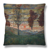 Four Trees, 1917 Throw Pillow by Egon Schiele