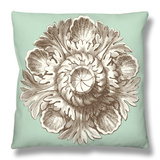 Celadon and Mocha Rosette III Throw Pillow by  Vision Studio