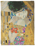 The Kiss, Der Kuss, Close-Up of Heads Fleece Blanket by Gustav Klimt