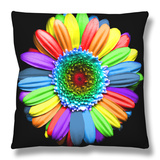 Rainbow Flower Throw Pillow by Magda Indigo