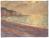 Beach at Pourville, Sunset, 1882 Fleece Blanket by Claude Monet