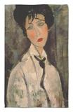 Mujer con corbata negra, 1917 Alfombrilla por Amedeo Modigliani