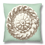 Celadon and Mocha Rosette IV Throw Pillow by  Vision Studio