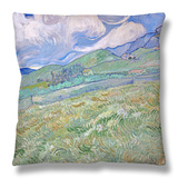 Wheatfield and Mountains, c.1889 Throw Pillow by Vincent van Gogh