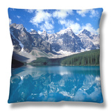 Moraine Lake in the Valley of Ten Peaks, Canada Throw Pillow by Diane Johnson