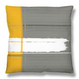 Grey and Yellow Throw Pillow by  NaxArt