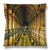 Gallery of the Old Library, Trinity College, Dublin, County Dublin, Eire (Ireland) Throw Pillow by Bruno Barbier