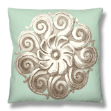 Celadon and Mocha Rosette I Throw Pillow by  Vision Studio
