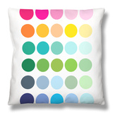 Rainbow Dots Throw Pillow by  Avalisa