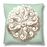 Celadon and Mocha Rosette II Throw Pillow by  Vision Studio