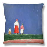 Three Figures, 1913-28 Throw Pillow by Kasimir Malevich