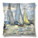 The Boats, or Regatta at Argenteuil Throw Pillow by Claude Monet