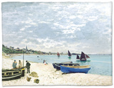 The Beach at Sainte-Adresse, 1867 Fleece Blanket by Claude Monet