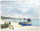 The Beach at Sainte-Adresse, 1867 Fleece Blanket by Claude Monet