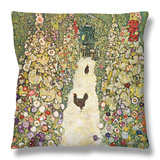 Gardenpath with Hens, 1916 Throw Pillow by Gustav Klimt