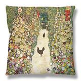 Gardenpath with Hens, 1916 Throw Pillow by Gustav Klimt