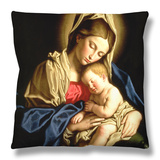 Madonna and Child Throw Pillow by  Giovanni Battista Salvi da Sassoferrato