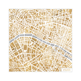 Gilded Paris Map Art by Laura Marshall