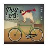 Pug on a Bike Reproduction giclée Premium par Ryan Fowler