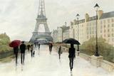 Eiffel in the Rain Marsala Umbrella Print by Avery Tillmon
