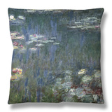 Waterlilies: Green Reflections, 1914-18 (Left Section) Throw Pillow by Claude Monet