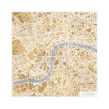 Gilded London Map Premium Giclee Print by Laura Marshall